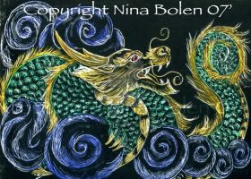 Chinese Dragon ACEO by The-GoblinQueen