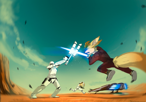 Ritch fighting stormtroopers by cyndaquil45