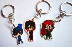 Black Butler Keychains by IcyPanther1