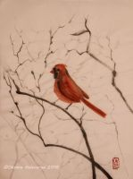 Northern Cardinal - ink, sumi-e by Oksana007