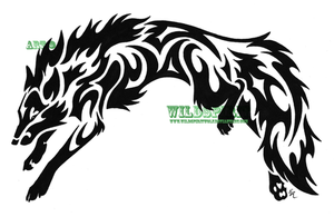 Leaping Wolf-Fox Tribal Tattoo by WildSpiritWolf