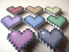 Rainbow hearts magnets by AnneKo