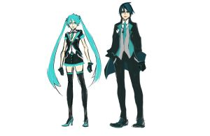 Sketch - Secret Agent Miku and Alfredo by Rousteinire
