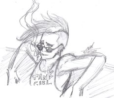 Tank Girl Sketch Warm-Up by ConstantM0tion
