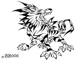 Tribal Garurumon by blackbutterfly006