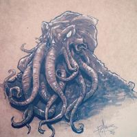 INKtober 2015 - Day #1 - Cthulhu (Sketch Dailies) by patrickianmoss