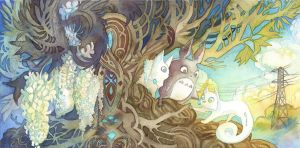 Totoro and Secret of Kells Crossover by blix-it