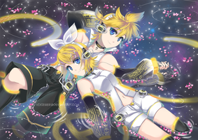 Vocaloid twins Print by vixiebee