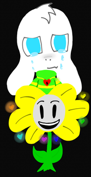 Asriel Dreemurr/ Flowey the flower by Preciousbmb