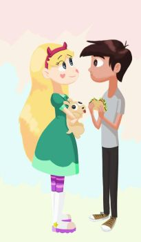 Marco is eating a taco by Luzz015