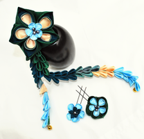 Peacock Flower Set by hanatsukuri