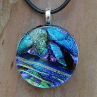 Blue Love Fused Glass Pendant by FusedElegance
