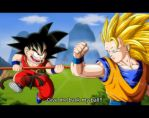 Kid Goku vs. Goku SSJ3 by orco05