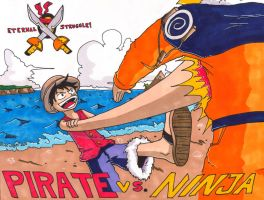 Pirate Vs. Ninja Coloured by roverpup