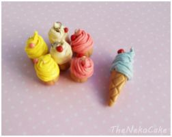 Cupcake and Icecream Clay Charms by NekoCakeArt