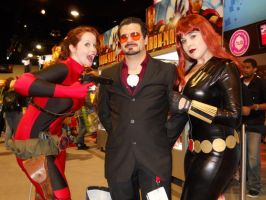 Tony Stark with LadyPool n BW by Adamantium84