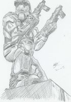 Master Chief, comic style by Ultimate-Saiyan