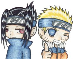 Naruto and Sasuke by VeeBunny