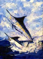 2 Marlin a Blue and a Striper by RandySprout