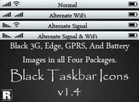 Black Taskbar Icons by R4nd0m-H3r0