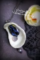 Pearls in Black- Vulva Oyster Shell Pendant by VulvaLoveLovely