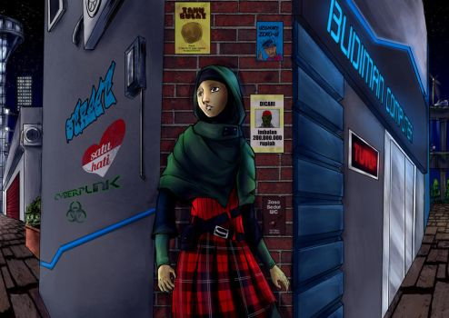 Lyna at center of night city by Sefina-NZ