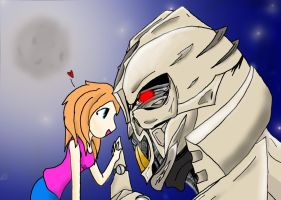 Erin and Starscream by DeviantDolphinART