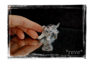 Miniature White Tiger Cub * Handmade Sculpture * by ReveMiniatures