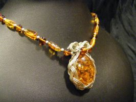 Celtic Amber Necklace by BacktoEarthCreations