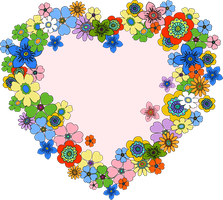 Floral Heart PNG by HanaBell1