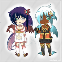 :Adopts: Winged Pair -OPEN- by oddlittleleaf