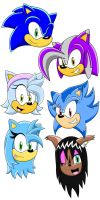 Sonic Character Heads by speediothehedgehog