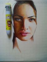 Ballpoint Pen Drawing (megan Fox) by ATCdrawings