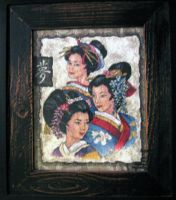 Three Geisha Cross Stitch by midnightfaery