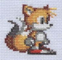 Sonic 2 Tails cross stitch by Lil-Samuu