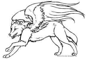 Winged Wolf - Lineart by little-kitsune
