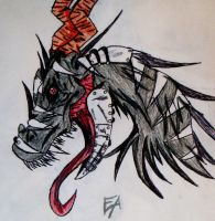 Dragon head partly metal xD by Angel-The-Wolf