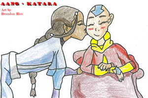 AangxKatara Kiss by GoldenSama