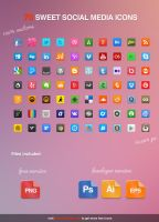 70 Sweet Social Media Icons by KL-Webmedia