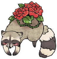 Raccoon and Roses by Danikahh