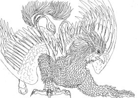 Lineart: hippogryph by kxeron