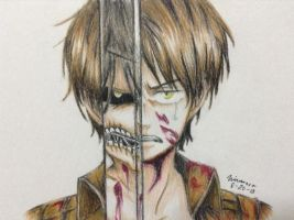 Eren Jaeger Colored Drawing by FrownedClown