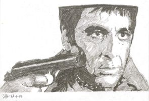Scarface Tony Montana Al Pacino drawing by SBdrawings