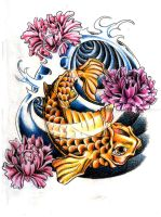 Koi Fish and Peony Flowers by MilkshakePunch