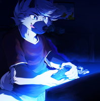 Late night gaming by Ronkeyroo