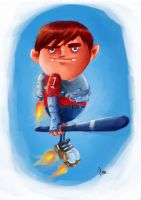Kid playing the Rocket ball in the air by MyTriangle