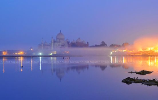 Twilight at Taj and Burning (Cremation) Ghat.... by nimitnigam