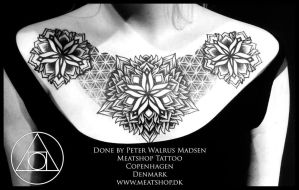 Flower of life chest piece by Peter Walrus Madsen by Meatshop-Tattoo