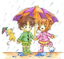 Sharing an Umbrella by MunMunChan