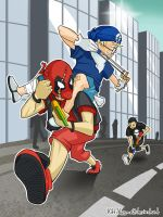 Kidpool and Kideye chased by Kidpunisher by LauraFMeis